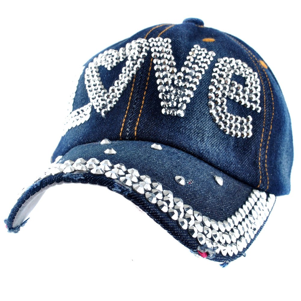 Elonmo Cute Letter Love Baseball Cap Jewel Rhinestone Bling Hats Jeans Wash Denim (Dark Blue)
