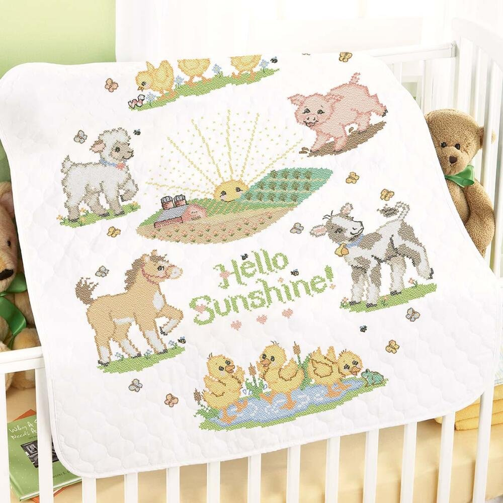 Herrschners® Pre-Quilted Hello Sunshine Baby Quilt Stamped Cross-Stitch Kit by Herrschners®
