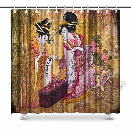 Amazon INTERESTPRINT Geisha Japan Batik Prints Shower Curtain