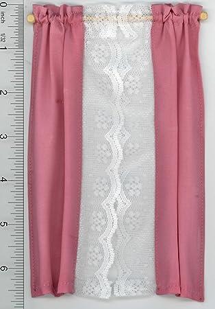 Amazon.com: Dollhouse Miniature Pink Taffeta/Ecru Lace Curtains by ...