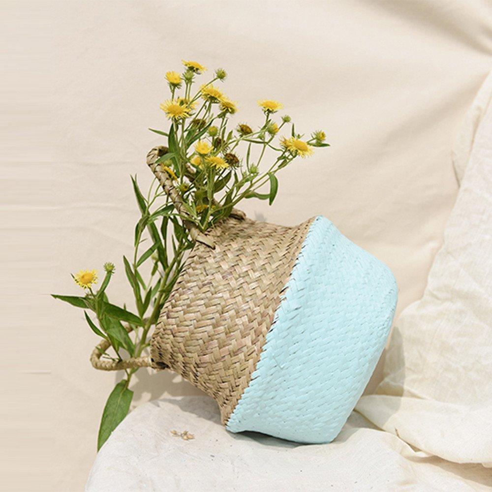 Zarupeng-Seagrass Cesta de cesteria de Mimbre Plegable Colgante Maceta de Flores Maceta Sucia de lavanderia cesto de Almacenamiento Cesta Decoracion para el hogar Azul, 22 * 20cm