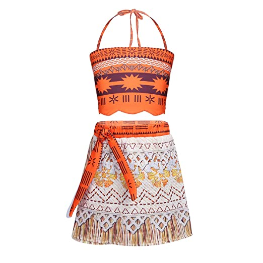 18d611e7ab iEFiEL Girls Moana Costume Swimsuit Bathing Suit Summer Beachwear Adventure  Outfit Party Cosplay Dress Up Orange