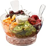 Perlli - Ice Chilled Serving Multifunctional Salad Bowl with Dome Lid and Serving Utensils - Includes 4-Way Divider, Dip Cup, Spacious Dome Lid, Shatterproof Acrylic, 6.5-Quart Capacity