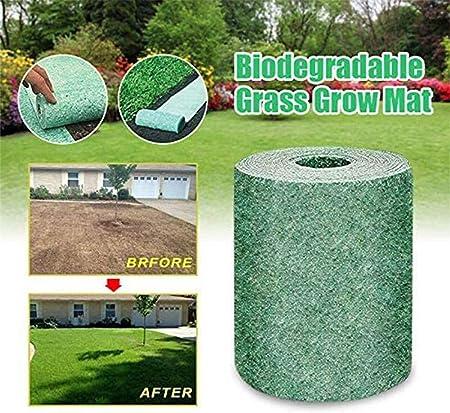 No Seeds Biodegradable Grass Seed Mat Biodegradable Grass Grow Mat Roll Seed Starter Mat Germination Mats Fertilizer Garden Picnic for Strengthen Planting Rate Seed Starter 20x300cm