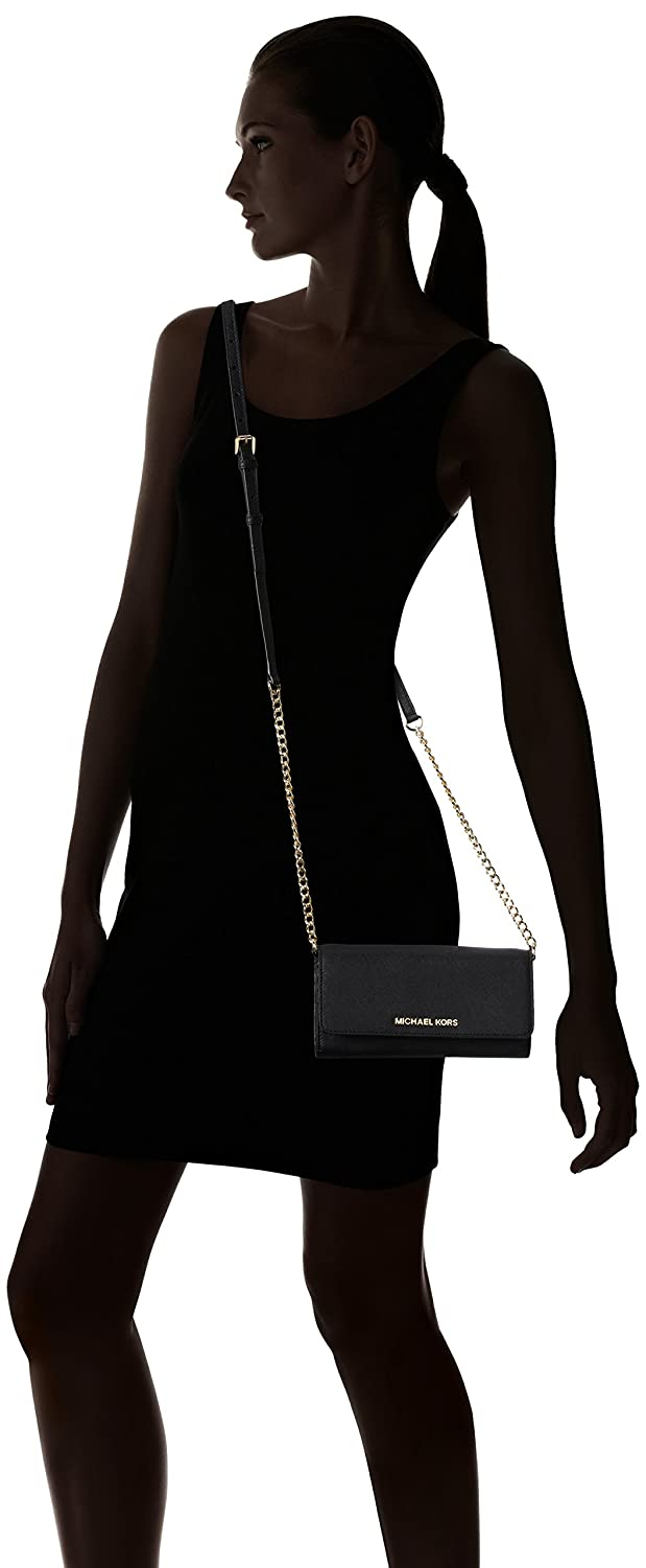 Michael Kors - Jet Set Wallet On A Chain, Carteras Mujer, Negro (Black), 2x11x20 cm (W x H L): Amazon.es: Zapatos y complementos