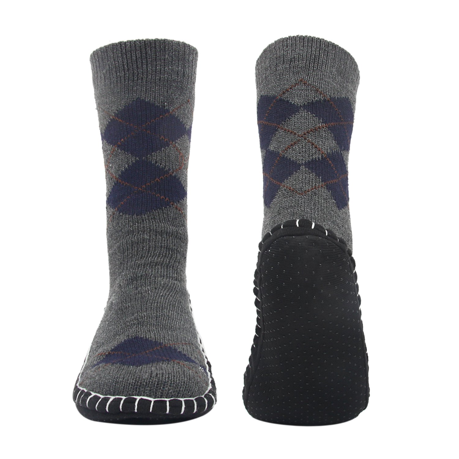 Vihir Men's Winter Knitted Non-Skid Home Warm Slipper Socks Indoor Floor Stocking House Shoes by Vihir