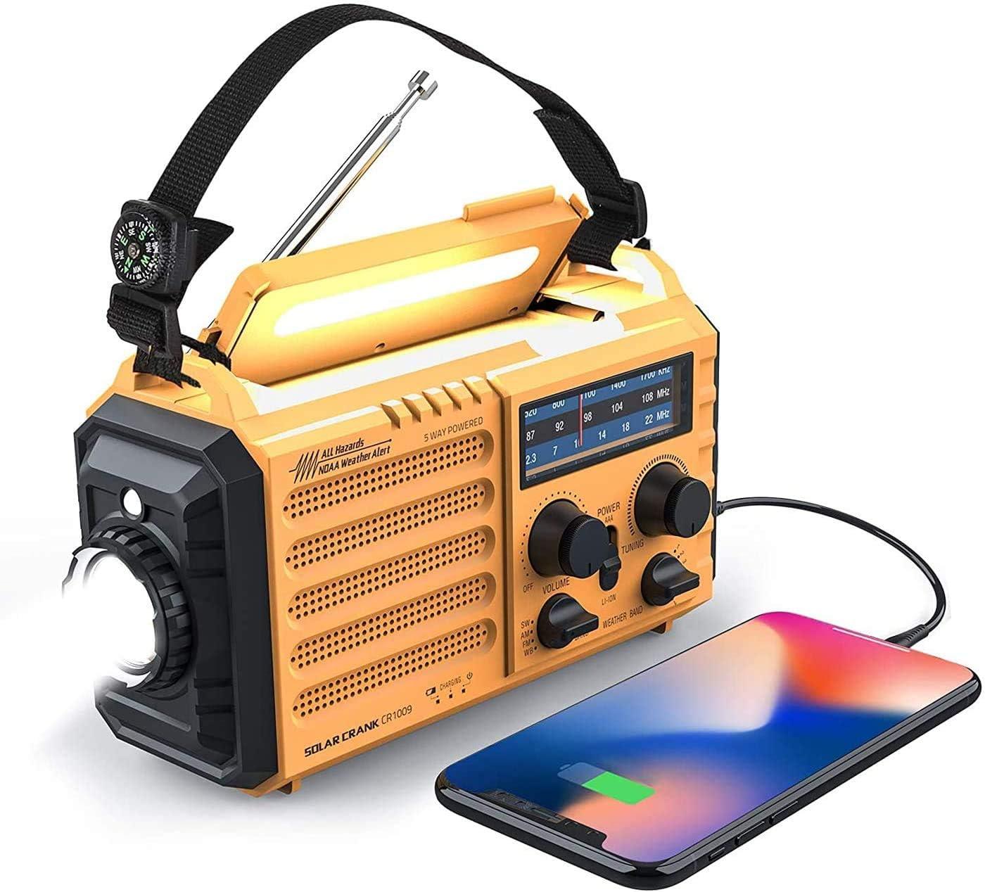Weather Radio Raynic 5000mAh Solar Hand Crank Emergency Radio 5 Ways Powered AM/FM/SW/NOAA Weather Alert Portable Radio with Flashlight, Reading Lamp, Cellphone Charger and SOS Alarm (Yellow)