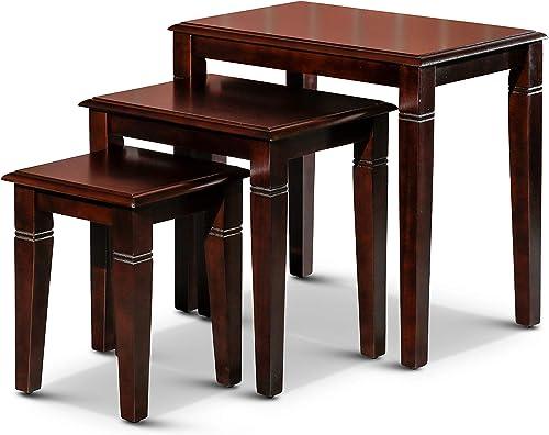 Golden 3-Piece Nesting Tables DTY Indoor Living Furniture Collection – Dark Brown