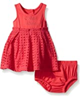 Calvin Klein Baby Girls' Jersey Spandex Dress with Eyelet Piecing and Panty