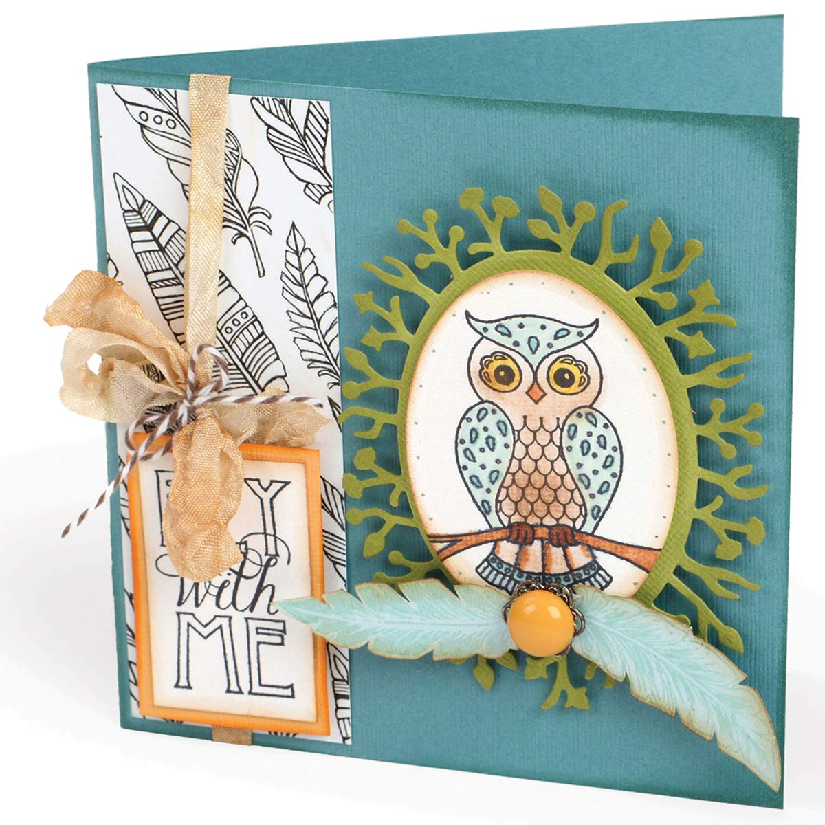 Sizzix Fox Tales Collection Clear Acrylic Stamps Owl and Feathers (12 Pack)