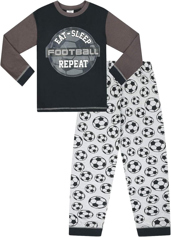 Pyjama long pour gar/çon Eat Sleep Football Repeat Gris