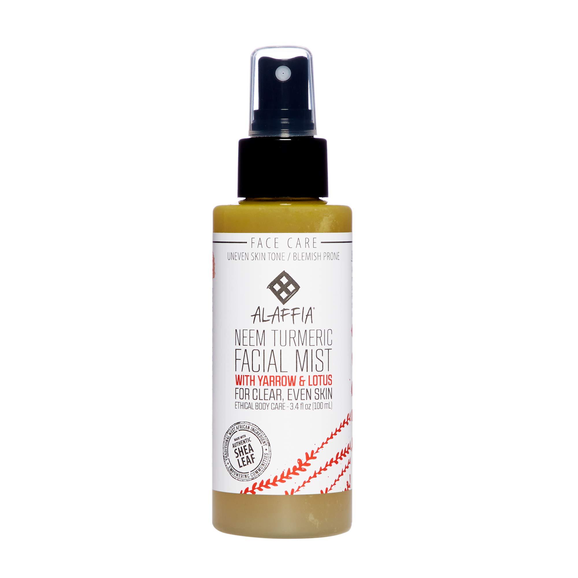 Alaffia - Neem Turmeric Harmonizing Facial Mist, Helps Tone and Restore Protective the Skin's Protective Layers with Red Algae, Yarrow, and Tea Tree, Fair Trade, Harmonizing Neem, 3.4 Ounces