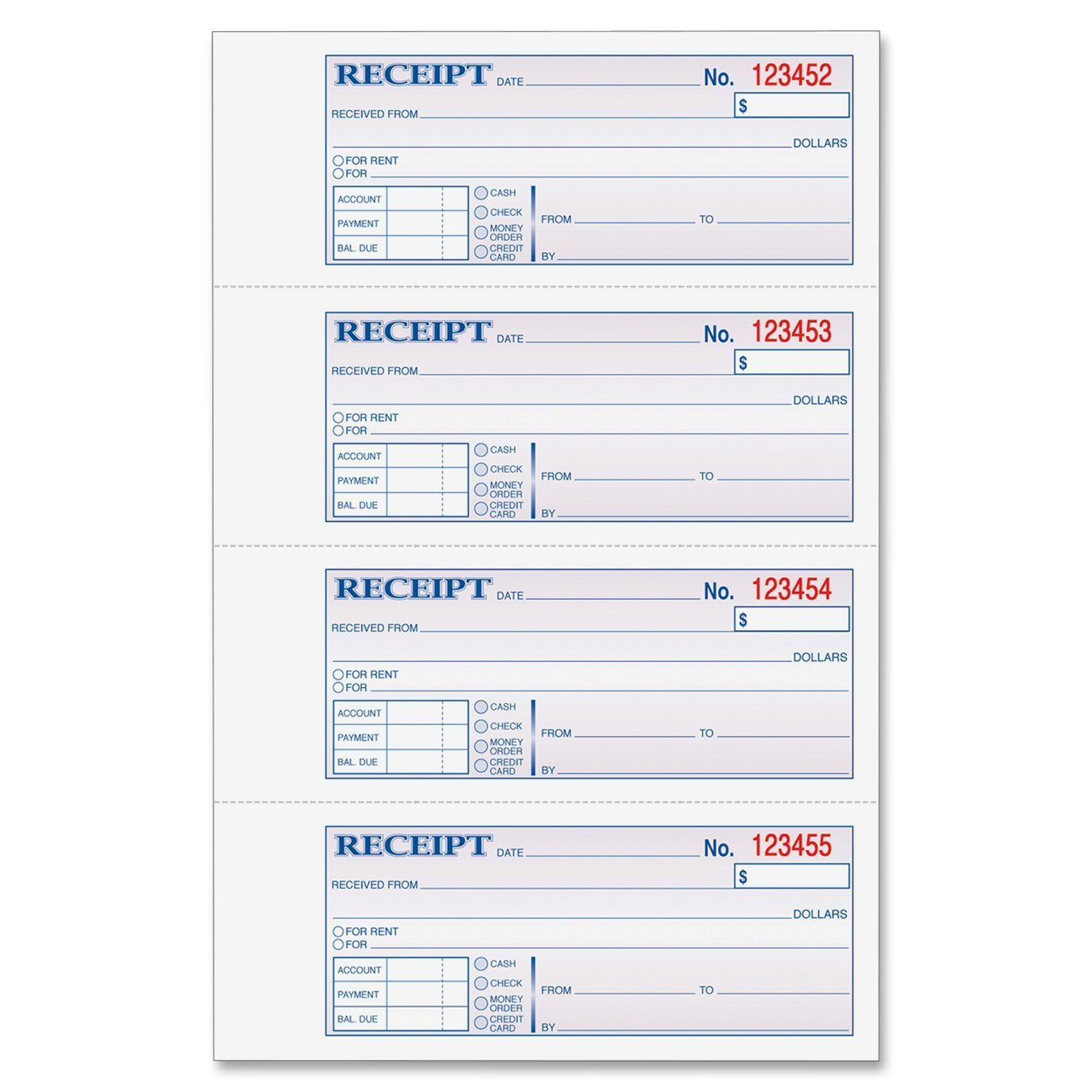 Amazon.com : Adams Money And Rent Receipt Book, 3 Part, Carbonless,  White/Canary/Pink, 7 5/8  Free Rental Receipts