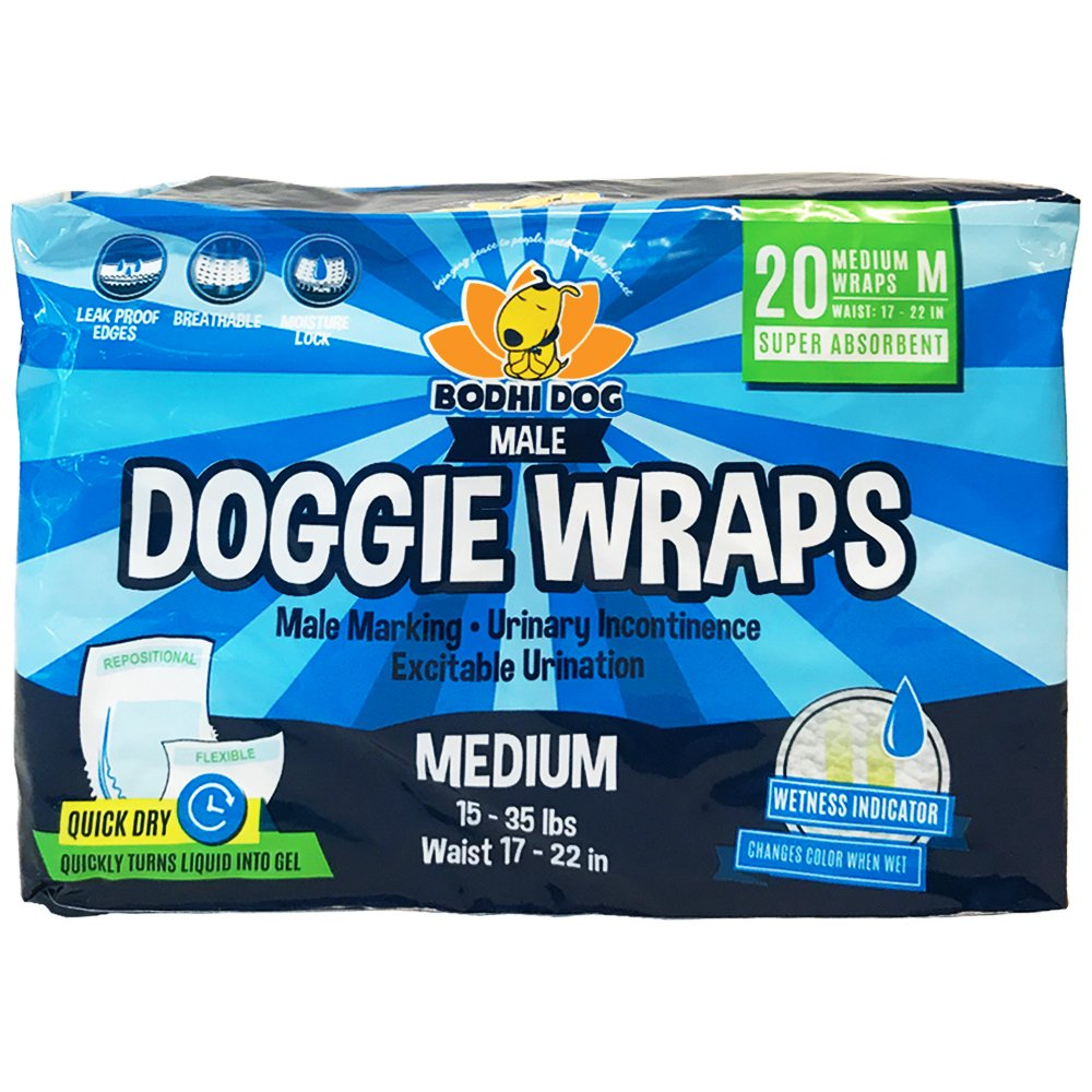 Bodhi Dog Disposable Dog Male Wraps   20 Premium Quality Adjustable Pet Diapers with Moisture Control and Wetness Indicator   20 Count Medium Size