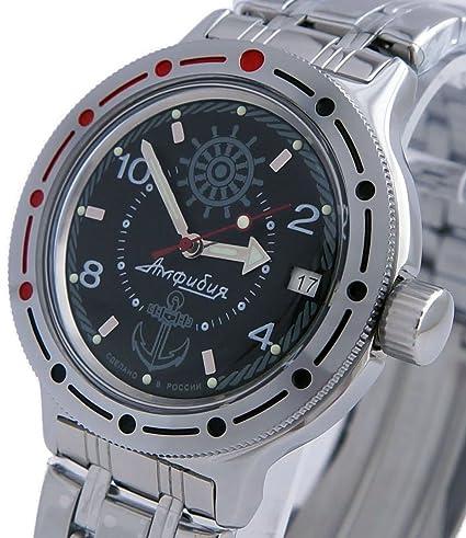 Vostok Amphibian Militar Russian Diver Reloj Azul Marino Negro 2416/420526: Amazon.es: Relojes