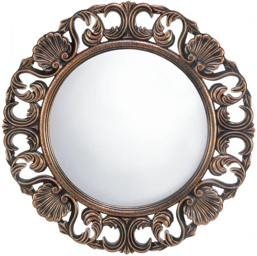 Amazon Com Decor And More Store Wooden Old World Style Carved Fancy Round Wall Hanging Mirror Home Decor Home Kitchen