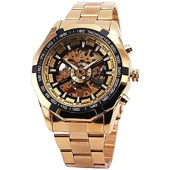 Mejor Venta Ruso Esqueleto de Lujo de los Hombres Automática Mechancial Reloj de Pulsera Golden Correa Esfera de Color Negro: WINNER: Amazon.es: Relojes