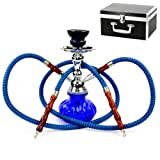 "Never Exhale 10"" Premium 2 Hose Hookah Shisha Complete Set with Carry Case - Pumpkin Glass Vase Design - Pick Your Color"