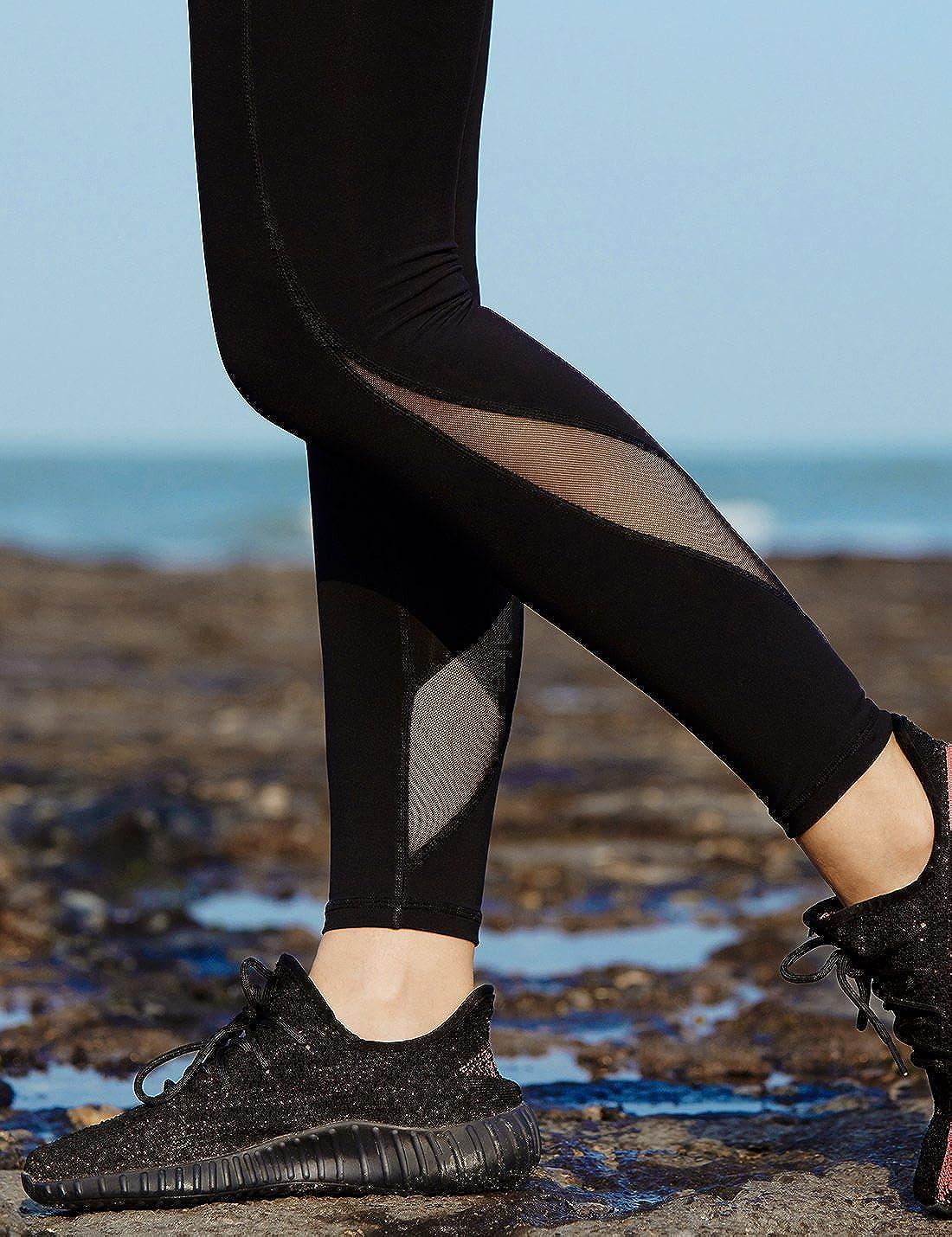 AJISAI Womens Mesh Black Workout Leggings Active Yoga Running Pants
