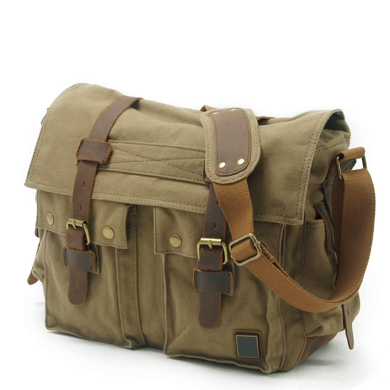 YAOJU Sacs Port/és /épaule Messenger Bag Laptop Briefcase Hommes Femmes Sac de Sport Travail Ecole Cartable Sac Militaire Sac Toile pour Homme