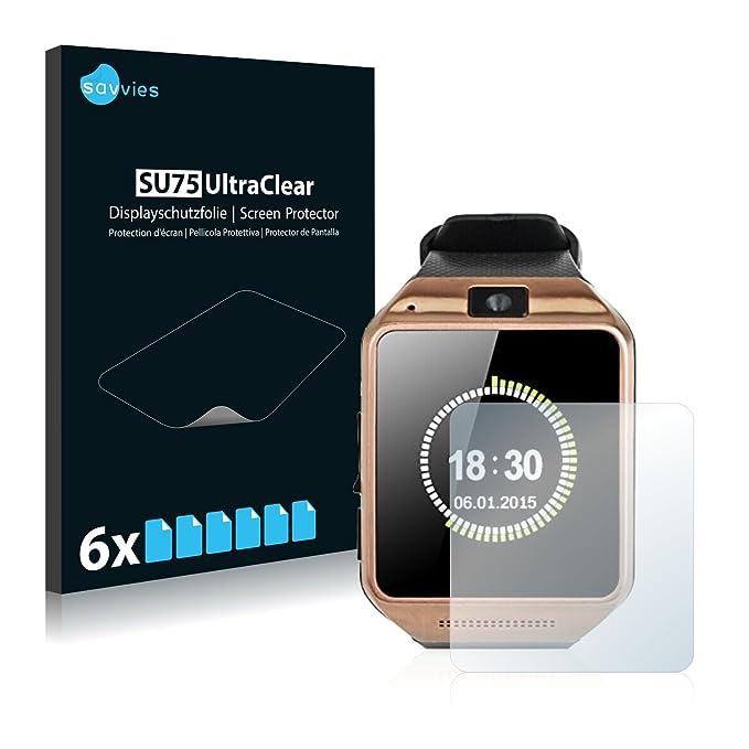 savvies Protector Pantalla Compatible con Gearmax Smartwatch DZ09 (6 Unidades) Pelicula Ultra Transparente