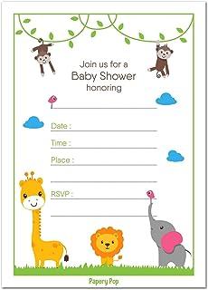 amazon com jungle safari baby shower invitations safari animal