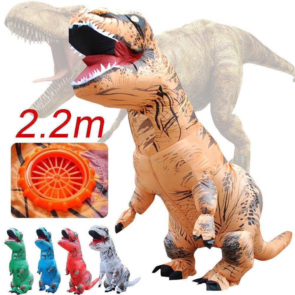 About1988 Dinosaurier-Kostüm, Halloween Erwachsene aufblasbare T-Rex Dinosaurier-Partei-Kostüm Lustige Kleid Braun und USB-Kabel mit Batterie betriebenen Ventilator (Braun)
