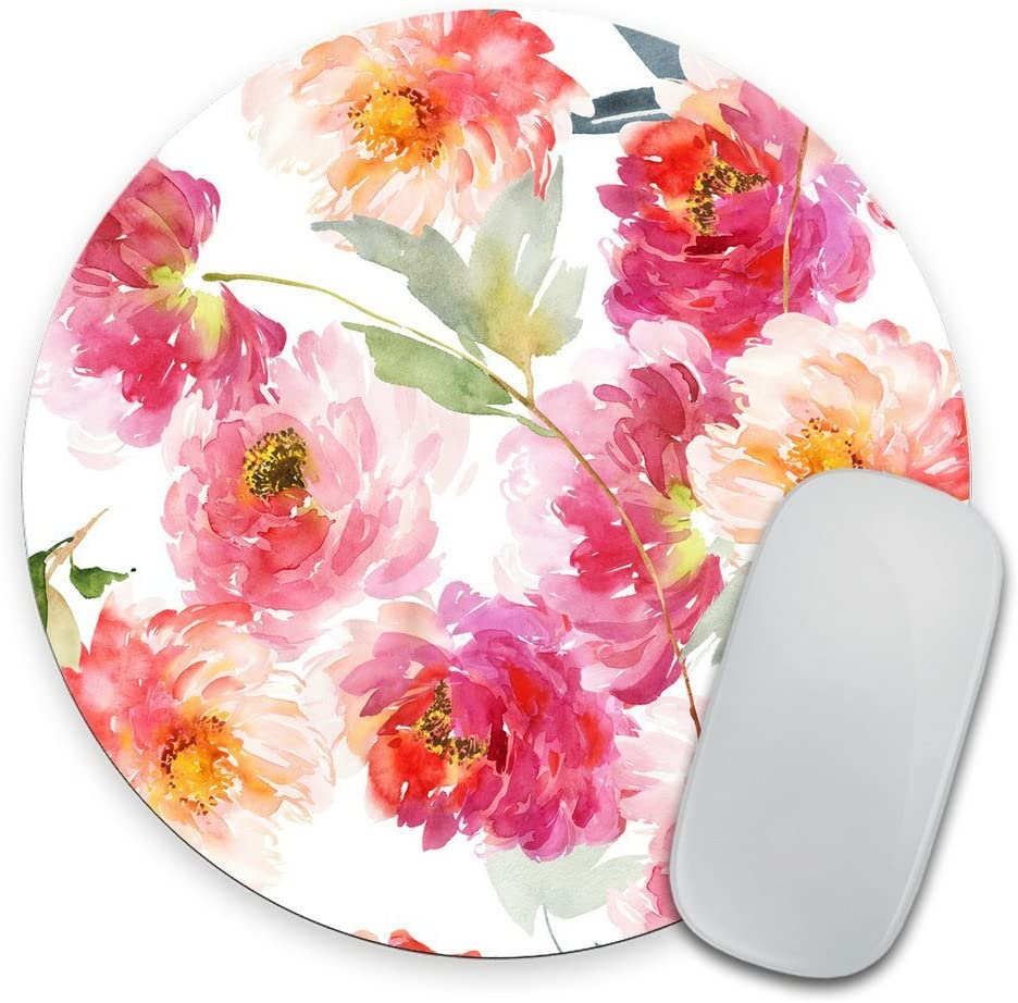 Watercolor Floral Desk Set, Fabric Mouse Pad, Desk Set, Office Set, Coaster Set, Round Mouse Pad, White Flowers, Business Gift