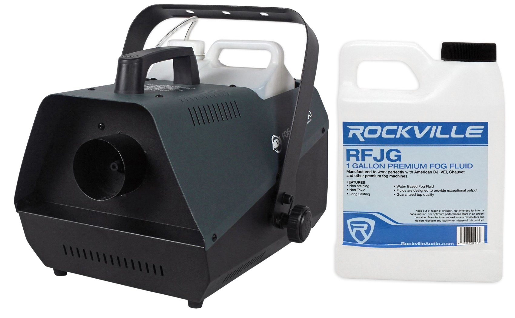 Package: American DJ Fog Fury 3000 1500 Watt High Output Fog Machine With Wired Remote and a Specialized Pipeline System That Minimizes Clogging + Rockville RFJG Gallon Fog/Smoke Juice Fluid