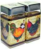 Grant Howard French Rooster Square Glass Salt and Pepper Shaker Set, Multicolor