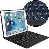 Cooper Cases SLIM BOOK ICHIBAN 【 iPad 9.7 2018 / 2017 / Air2 / Pro 9.7 / Air 】 キーボード ケース 輝く7色LEDバックライト 美麗な日本語かな文字入力キー (ブラック)