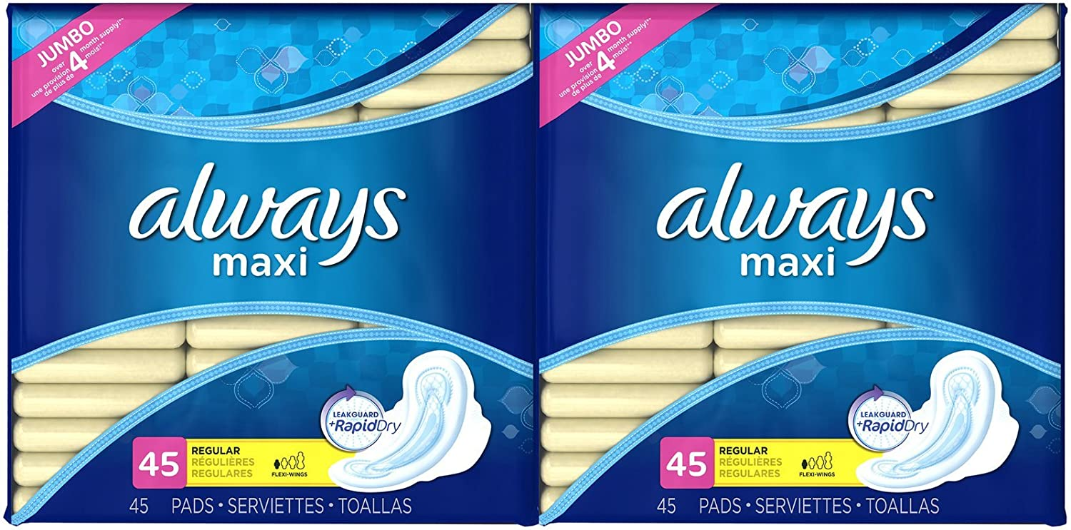 Amazon.com: Always Pads Regular w/Flexi-Wings, Unscented - 45 ct - 2 pk: Health & Personal Care