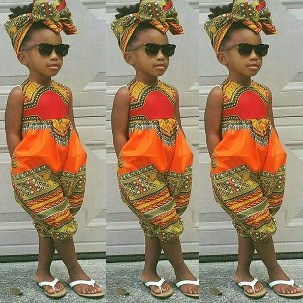 a779d71e209 Amazon.com  Fheaven 2Pcs Toddler Kids Baby Girl Summer Outfits Clothes  African Print Sleeveless Romper Jumpsuit +Headband  Clothing