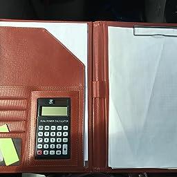 Amazon Engrepo バインダー クリップ ボー ファイル多機能フォルダー12位電卓計算機付きa4書類契約フォルダービジネスオフィス用品 レザー高級感 スピーチ会議用パット オレンジ クリップファイル ボード 文房具 オフィス用品
