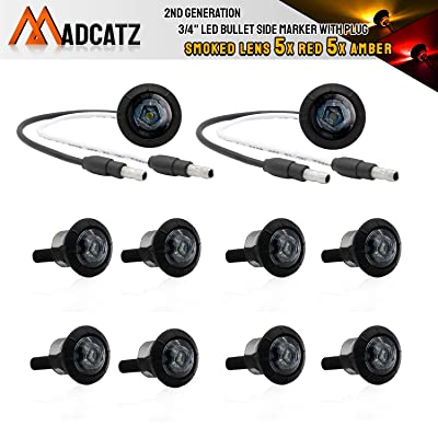 Meerkatt (Pack of 10) Special Generation 3/4 inch Round Smoked Lens 5 Amber + 5 Red LED SMD Side Marker Clearance Indicators Lights 2 Pin Plug black rubber grommets Boat Trailer RV Truck 12V DC XT-DC: Automotive