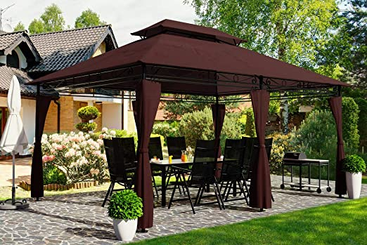 Deuba Pabellón de jardín Topas 3x4m paredes laterales carpa cenador exterior terraza fiestas cumpleaños marron: Amazon.es: Jardín