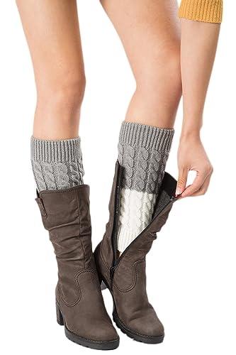 YACUN Cable Calentador De La Pierna De La Mujer Botas De Invierno De Puños Topper Cubre Calcetines