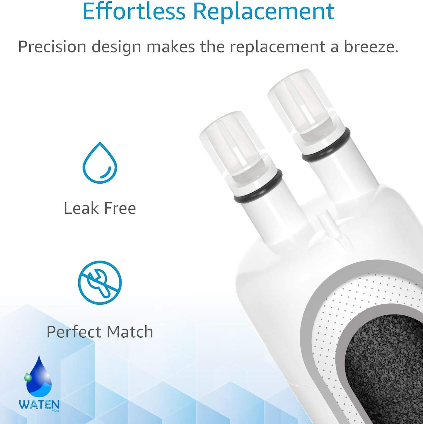 W10295370 Water Filter Cap Replacement Compatible with EDR1RXD1 W10295370a Filter 1,Kenmore 46-9081 46-9930 WATEN H2O Water Filter-2 Packs