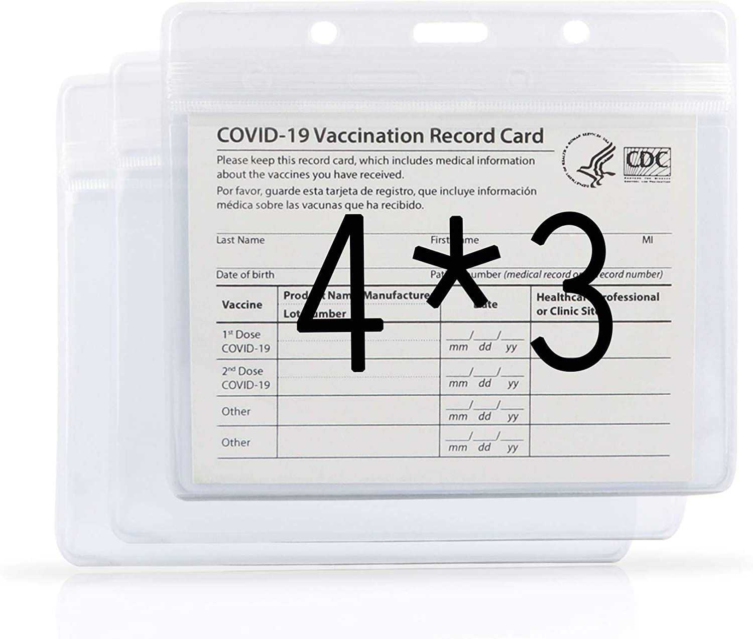 3 Pack CDC Vaccination Card Protector 4X3 in Immunization Record Vaccine Card Holder Horizontal Badge Id Name Tags Clear PVC Sleeve Waterproof Type Resealable Zip w 3 Lanyard Slots for Events Travel
