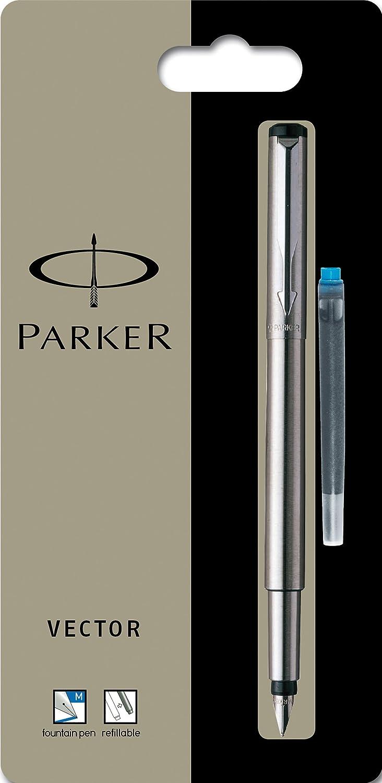 Parker Vector - Pluma estilográfica (punta mediana, acero inoxidable)
