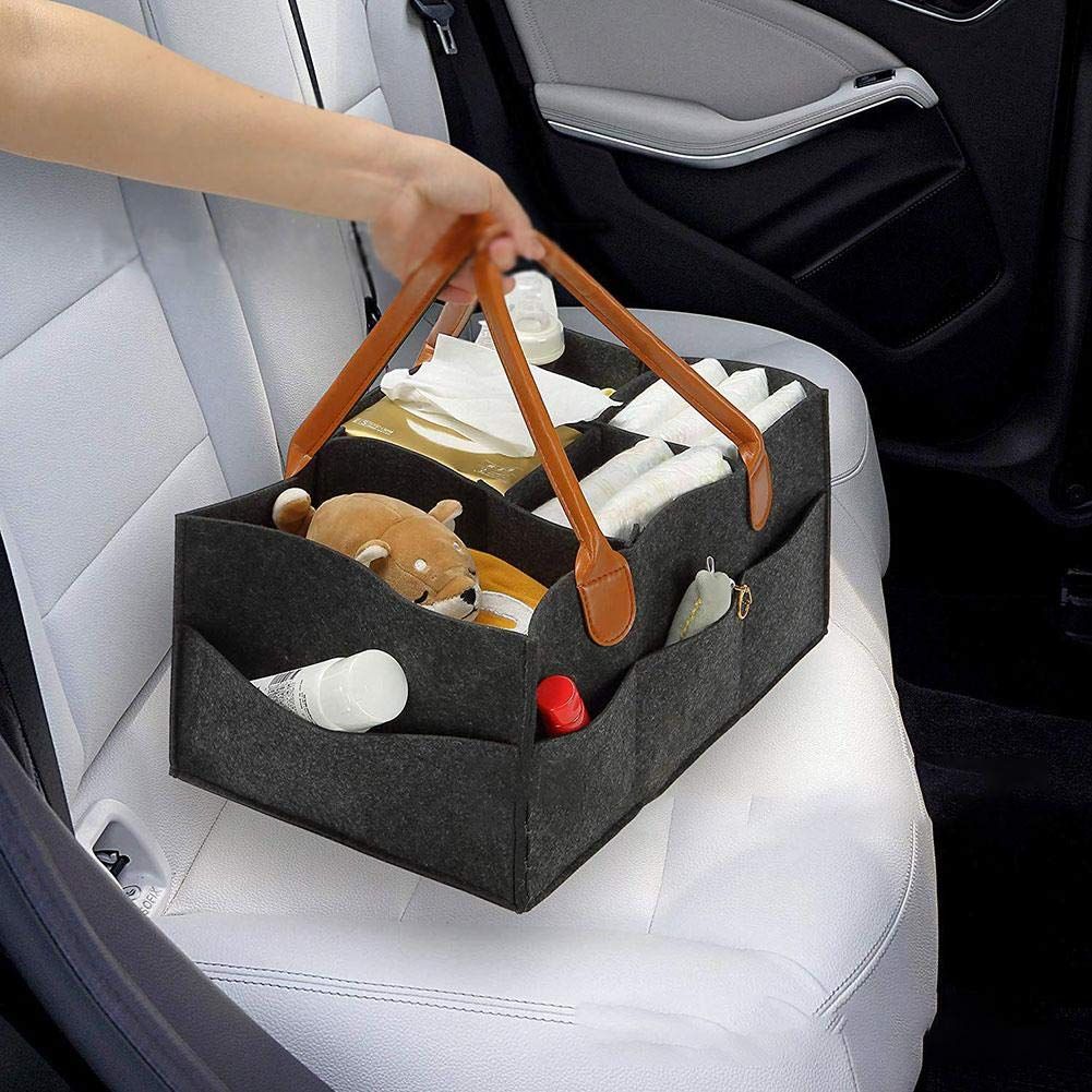Detachable Divider Invisible Pockets For Diapers Wipes Portable Car Organizer Newborn Shower Gift Basket 5-Compartment Large Infant Nursery Storage Bin Nappy QueenHome Baby Diaper Caddy Organizer