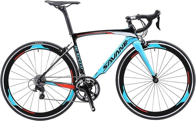 SAVADECK Bicicleta de carretera de carbono, Windwar5.0 marco de fibra de carbono 700C bicicleta de carreras con 105 22 velocidades Groupset ...