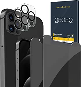 QHOHQ 2 Pack Privacy Screen Protector for iPhone 12 Pro [6.1
