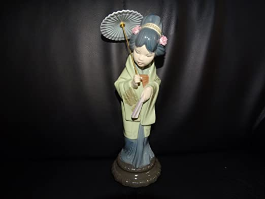Lladró – España Porcelana Figura: Japanerin con pantalla – Nuevo: Amazon.es: Hogar