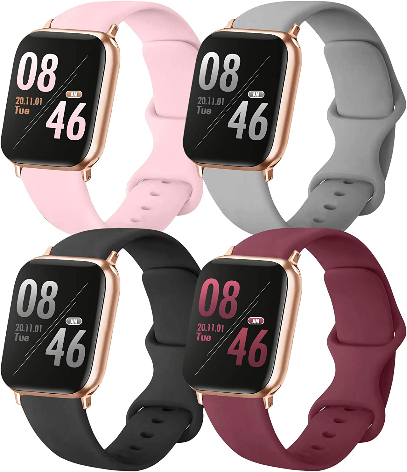 Brigtlaiff Pack 4 Compatible with Apple Watch Bands 38mm 40mm 42mm 44mm, Soft Silicone Replacement Band for iWatch Series SE/6/5/4/3/2/1 (PinkSand/Gray/Black/WineRed, 38mm/40mm-S/M)