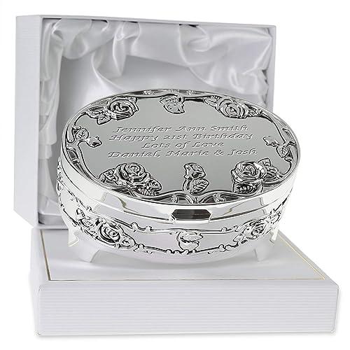 De Walden Girls 21st Birthday Gift Engraved Silver Plated Rose Trinket Box In A Presentation