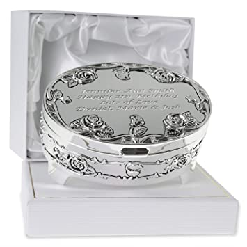 De Walden Girls 21st Birthday Gift Engraved Silver Plated Rose Trinket Box In A Presentation