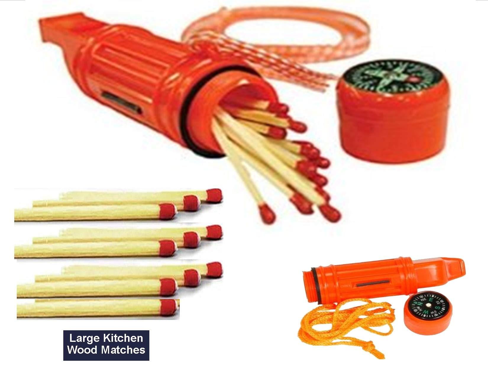 EDOG 6 N 1 Emergency Blaze Orange Survival Whistle & 10+ Hand Stuffed Large Kitchen Wood Matches   Compass   Waterproof Match Holder   Signal Mirror   Lanyard (1) by EDOG