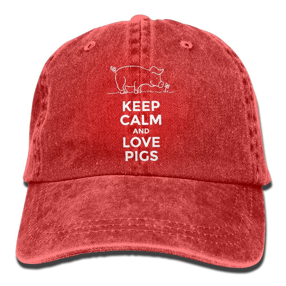 Men's/Women's Keep Calm and Love Pigs Denim Fabric Baseball Cap Adjustable Hat by Qevenon-08 (Image #2)