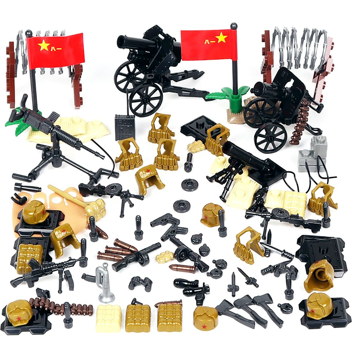 Kolobok WW2 Toys Sino-Japanese War Set WWII Chinese Army Men Infantry  Weapons Pack Guns and Accessories for Soldier Minifigures Building Blocks